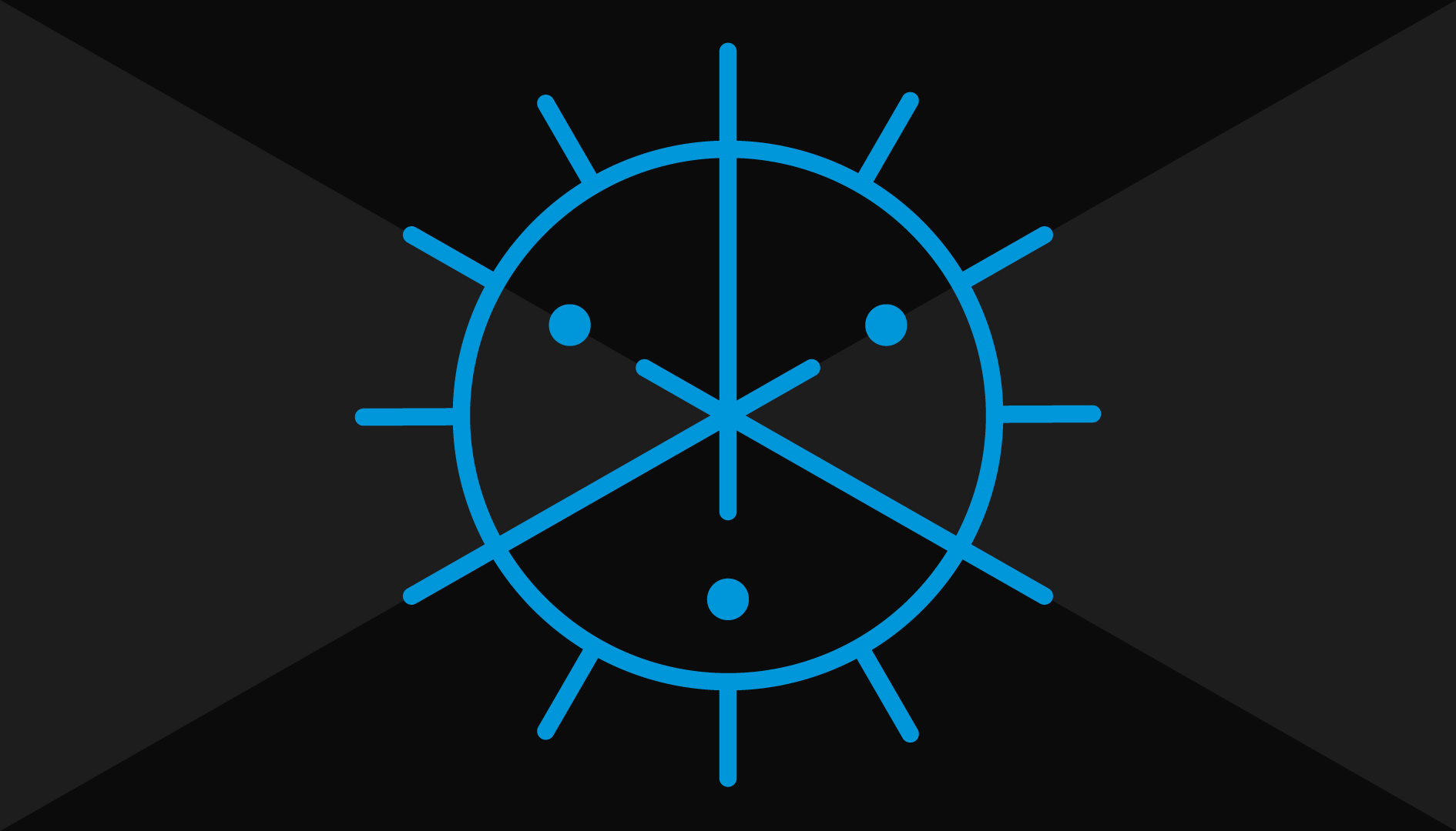 The Crest of Syntheticism: A circle of radioactive blue on a black background, trifurcated by three strokes that cross to form a tri-point in the center. Three round stars lie just off the ends of the points. The circumference of the circle is surrounded by twelve strokes spaced evenly around.